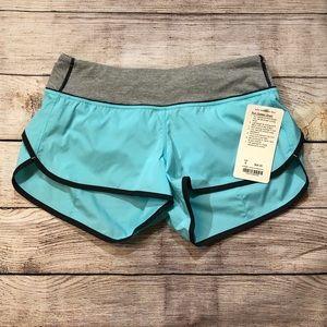 Lululemon baby blue and gray Run: Speed Short